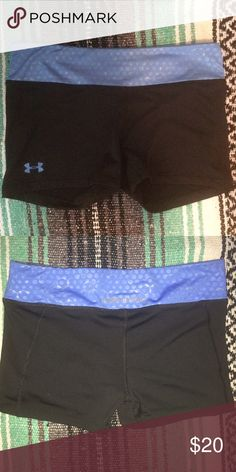 """Under armour HeatGear Medium fitted shorts Black and blue under armour fitted shorts MEDIUM 3"""" inseam. Only worn to try on. Under Armour Shorts"""