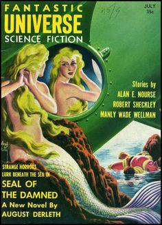 Cover art by Virgil Finlayfor Fantastic Universe, 1957
