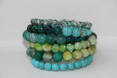 Wire wrapped beaded bracelet Green and Blue by EverydaySisters, $45.00
