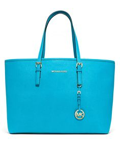 MICHAEL Michael Kors Large Jet Set Multifunction Travel Tote in Summer Blue Saffiano Leather