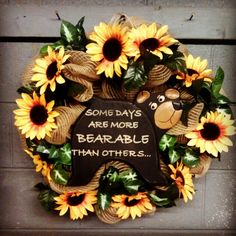 Burlap, sunflowers, and bears wreath