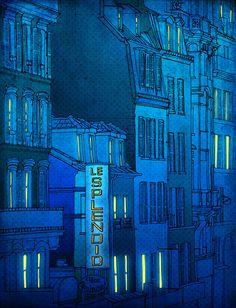 Good morning Paris   Paris illustration  Turquoise art by tubidu, $20.00