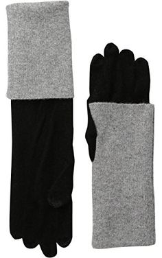 Sofia Cashmere Women's Turn-Back Colorblock Gloves, Black/Light Heather Grey, One Size ❤ Sofia Cashmere Women's Accessories