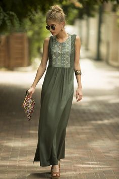 Sage Green Maxi Dress, Long Kaftan Dress, Tribal Ethnic Long Caftan Dress, Olive Green Embroidered Dress, Boho Rayon Flattering Loose Dress - All About Vetement Hippie Chic, Sage Green Maxi Dress, Olive Green Outfit, Long Kaftan Dress, Silk Dress, Kaftan Designs, Dress Designs, Casual Dresses, Dress Outfits