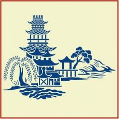 Items similar to The Artful Stencil, Blue Willow Stencil - 12 in. by 9 in.- 10 mil Mylar, walls, pillows and sign painting on Etsy Blue Willow China, Blue And White China, Blue China, Stencil Patterns, Pattern Art, Blue Patterns, Pattern Ideas, Chinoiserie, Japanese Art