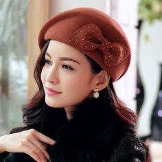 Buta beret elegant Hat new Korean wave pure wool winter ladies hats 0364