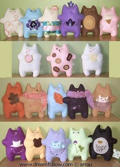 felt embroidered FATKITTY plush PDF pattern by littledear on Etsy Sewing Toys, Sewing Crafts, Sewing Projects, Craft Projects, Cat Crafts, Animal Crafts, Crafts For Kids, Fabric Toys, Fabric Crafts