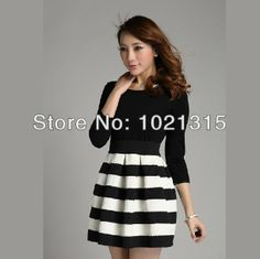 2014 Spring Summer Winner O-Neck Dress black and white stripe slim faux set long-sleeve dress  Free shipping