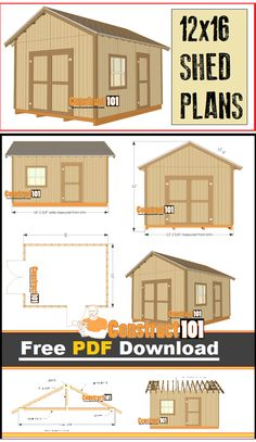 Shed plans - 12x16 gable shed - plans include a free PDF download, material list, and step-by-step instructions.