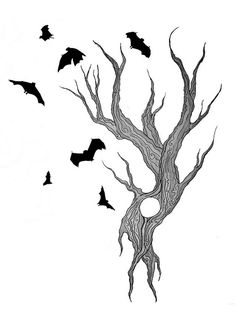 tree and bats tattoo design by Doodle-Zook, via Flickr