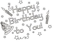 1000 Images About Happy Birthday Coloring Pages On Pinterest