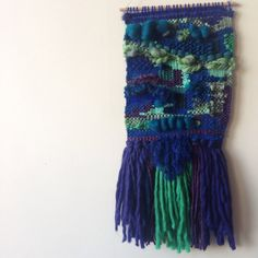 Handwoven Wall Hanging  Moody Blues by WarpedThreadss on Etsy, $185.00