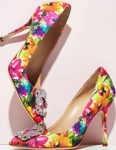 0bc61281e5e2 Manolo Blahnik - Escarpins - Fleurs Flashy et Boucles Strass Belle  Chaussure