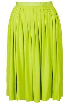 TOPSHOP Lime Pleat Split Calf Skirt