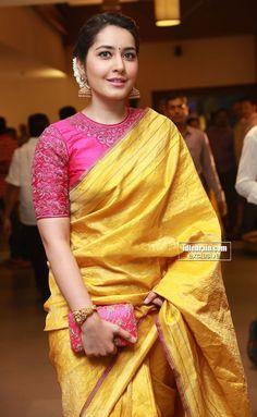 Rashi Khanna Photos In Yellow Saree At Director Krish Marriage Yellow Gown, Yellow Saree, Pink Saree, Green Saree, Saree Styles, Blouse Styles, Dress Styles, Saree Blouse Designs, Blouse Patterns