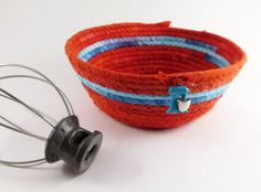 Retro Coiled Basket Coil Rope Basket Hand Dyed by LauraLoxley