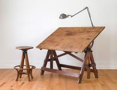 Vintage Industrial Large Keuffel & Esser drafting table by HomesteadSeattle Antique Drafting Table, Wood Drafting Table, Drafting Chair, Timber Furniture, Home Furniture, Vintage Industrial Decor, Industrial Style, Dark Wood Stain, Woodworking Inspiration