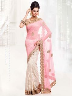 Aesthetic off white and light pink color net and chiffon saree. Item Code : SNAL6006 www.bharatplaza.com/new-arrivals/sarees.html