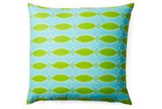One Kings Lane - The Bright Stuff - Trellis 20x20 Cotton Pillow, Aqua