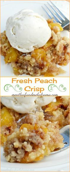 Fresh Peach Crisp is made from scratch with a crispy topping that doesn't contain oats. This easy summer dessert is a delicious way to celebrate peach season!