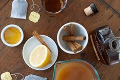 Hot Toddy - add tea, apple cider, dash of nutmeg, cloves, cinnamon, 2 thin slices of ginger, turmeric, etc