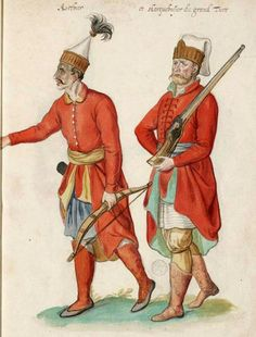 Solak Archer and Janissary, by Lucas d'Heere, about 1575 Medieval Clothing, Historical Clothing, Turkish Military, Medieval Armor, Ottoman Empire, North Africa, Costume, Male Dress, History