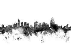 Cincinnati Ohio Skyline is a piece of digital artwork by Michael Tompsett which was uploaded on August 20th, 2014.
