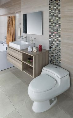 Ver: Paredes y azulejos - Best Pins Live Bathroom Renos, Bathroom Layout, Bathroom Renovations, Bathroom Furniture, Bathroom Interior, Modern Bathroom, Small Bathroom, Ideas Baños, Upstairs Bathrooms