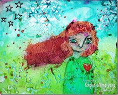 Mixed Media Painting by Nolwenn using Lindy's Stamp Gang