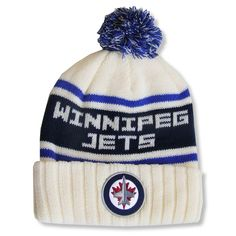 3fdc87c024594 Men s Winnipeg Jets Red Jacket Cream Pillow Lined - Cuffed Knit Hat with Pom