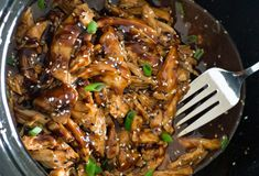 Slow cooked chicken breasts tossed in a sweet and tangy Asian inspired sauce. An easy weeknight meal the whole family will love! Slow Cooker Honey Garlic Chicken This Honey Garlic Chicken takes Best Crockpot Recipes, Slow Cooker Recipes, Cooking Recipes, Healthy Recipes, Honey Recipes, Cooking Time, Asian Recipes, Quick Recipes, Slow Cooked Chicken