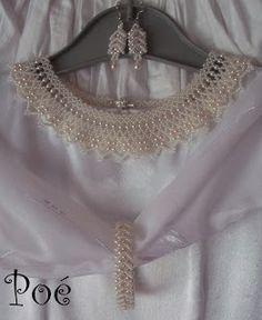 Poé gyöngyei: Esküvői szett+ minta Beaded Wedding Jewelry, Wedding Jewelry Simple, Collar Necklace, Necklace Set, Beaded Necklace, Kids Jewelry, Jewelry Making Tutorials, Bead Crafts, Beaded Embroidery