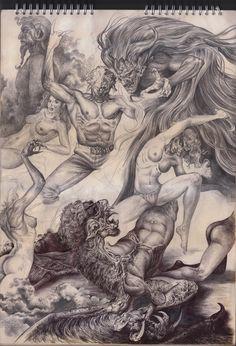 feast of pazuzu, kourosh lurnezhad on ArtStation at https://www.artstation.com/artwork/GW5oa