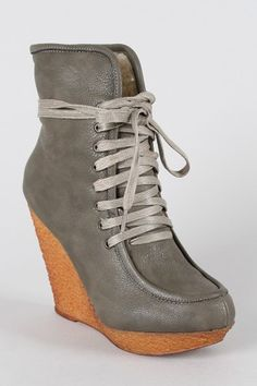 Wild Diva Jayma-04 Lace Up Shearling Wedge Bootie $30.50