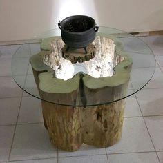 Mesa de tronco hueco con blindex