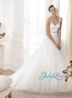 JW14019 strappy v neck lace ball gown wedding dresses  JW14019  :