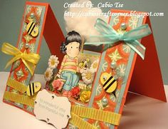 Cabio's Craft Corner: Tilda with bee in a flower bed double stair step card