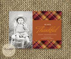 Thanksgiving Photo Card. Custom Printable. I Design, You Print - Plaid Thanks. $18.00, via Etsy.