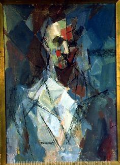 X1974.04.17, Portrait, 1957, Earl Kerkam, oil on canvas & paperboard