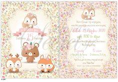 Προσκλητήριο βάπτισης για κορίτσια με ζωάκια, annassecret Baby Room, Rsvp, Teddy Bear, Animals, Animales, Animaux, Teddy Bears, Animal, Nursery