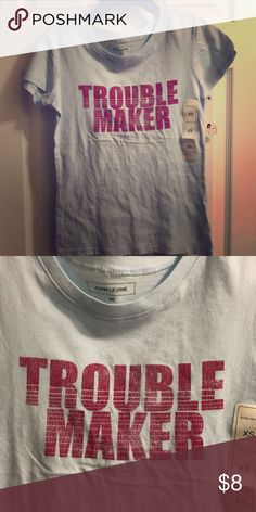 """NWT """"trouble maker""""Tee Baby blue & hot pink tee.. I love everything about this tee its bad jazz!! Adam Levine Collection Tops Tees - Short Sleeve"""