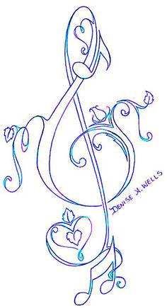 """""""Love Treble Clef """" ♫Tattoo Design♫ by ♫Denise A. Wells♫"""