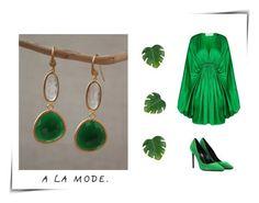 """Per una serata importante punta sul fascino del verde indossando un abito fluttuante di Stella McCartneye dona luce al tuo viso con gli orecchini """"Audrey"""" di Boonpa Gioielli. Acquistali subito con..."""