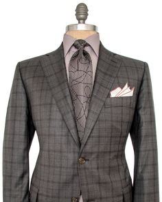 Grey and Chocolate Plaid Suit