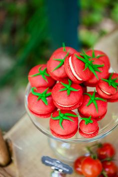"Tomato Macarons: ""Tomato"" macarons from Kiss My Cakes.  Source: Ham & Pea Design & Paperie"