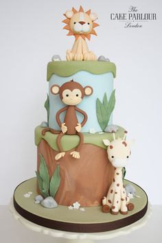 Beautiful handmade and bespoke wedding cakes London and celebration cakes and confectionery created by Zoe Clark and her team at The Cake Parlour, London. Jungle Birthday Cakes, Jungle Safari Cake, 1st Bday Cake, Animal Birthday Cakes, Safari Cakes, Animal Cakes, 1st Birthday Cakes For Boys, Jungle Theme Cakes, 2nd Birthday