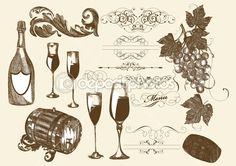 Ručně malovaná vector set víno a vinařské prvky - Burzovní vektor # 12488044
