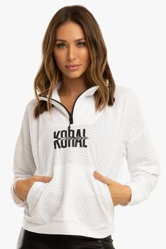 When it's too warm for a jacket and too cool for just a sports bra, slip on Koral's sporty Cairo Netz Anorak. Its netted texture keeps you breathable while a 1/4 zip neck offers even more ventilation when you up the ante. Thing 1, Sports Luxe, Cairo, Sport Fashion, Hoodies, Sweatshirts, Active Wear, Women Wear, Sporty