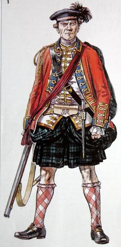 Officer of the 42nd Royal Highland Regiment (Black Watch), 1760.  The 42nd acquired their royal status in 1758.  Their uniform facings were consequently changed to royal blue.