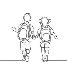Illustration of Boy and girl going back to school with bags. Continuous line drawing. Vector illustration on white background vector art, clipart and stock vectors. Line Art Tattoos, Continuous Line Drawing, Simple Line Drawings, Abstract Faces, Pencil Art Drawings, Banner Printing, Book Images, Drawing Poses, Wire Art